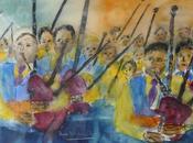 bagad, groupe musique traditionnelle bretonne Aquarelle