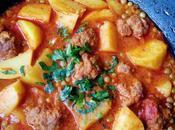 Tagine petit pois, pommes terre boulettes