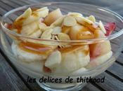 coupe fruits fromage blanc caramel