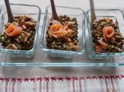 Salade lentilles saumon fumé.