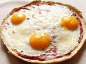 Piadina façon pizza poèle oeufs, tomates parmesan