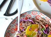 Salade nouilles soba oranges, grenade chou rouge Sans gluten