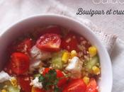 Recette Healthy Salade Boulgour, Fromage chèvre & cruditées