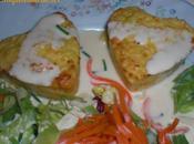 Petits coeurs surimi poireaux, sauce citronnee moutarde
