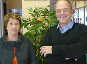Chemin campagne :Aline Hugonnet, maire ROFFIAC Didier Achalme Massiac