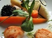 Saint jacques façon meuniere, crème gimgembre/citron vert, légumes glacés, noir pilaf