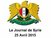 VIDÉO. Journal Syrie 25/4/2015, L'armée exécute opérations spécifiques dans banlieue d'Alep