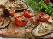 tarte fine saumon, aubergine, tomates