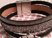 Bracelet cuir noir, gris argenté