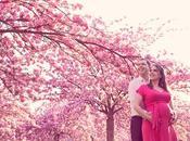 Séance photo future maman sous cerisiers Photographe maternité Versailles