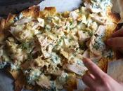 Creamy Spinach Nachos with Artichoke Bruschetta