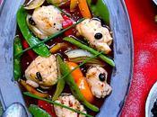 """Seiches sauce """"Black bean"""" légumes croquants, recette sino-mauricienne colorée Avec Pavillon France produits sont fête"""