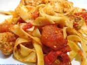 Tagliatelles tomate boulettes porc