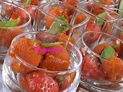 Verrines tomates,fraises,sorbet poivrons basilic