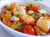 Saganaki crevettes Saint Jacques fruits sauce tomate épicée