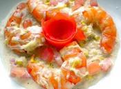 Gambas fondue poireaux sauce crème