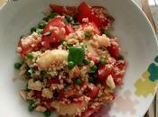 Salade boulgour tomates, pêches petits pois
