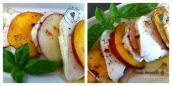 Nectarines, Mozzarella huile noix poivron rouge