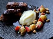 Magret canard laqué épices coings pochés mousseline céléri