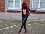 Burgundy jupe simili