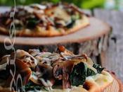 ~Pizza épinards, cheddar fort champignons sautés~