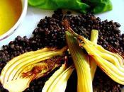 Salade lentilles noires fenouil avec tofu grillé