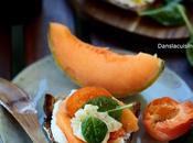 Tartine melon-abricot, ricotta gorgonzola