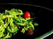 Spaghettis courgettes pesto poêle