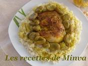 accompagné cuisse poulet fèves sauce