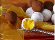 Truffes chocolat blanc, safran abricots secs