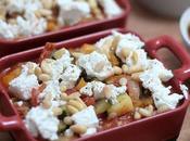 Gratin légumes ensoleillés chorizo, chèvre pignons