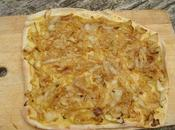 Idees dinner semaine, fausse pizza moutarde onion double tarte pommes