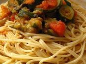 Spaghettis ratatouille curry vert