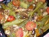 Felfel mehchi Plateau piments farcis avec poulet tomates jardin