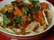 Linguine potiron, porc beurre cacahuète thaï