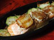 Papilotte saumon chèvre, miel, pain d'épices