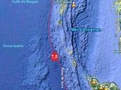 Séisme magnitude 7.5, large côtes Ouest Îles Nicobar, Juin 2010.
