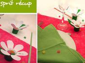Esprit récup marque-place fleur table bouteille
