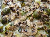 Gratin poisson choux bruxelles champignons paris