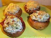 Amuse-bouche gourmand champignons farcis (ricotta, oignon, ail, persil), version nature jambon parme