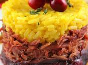 Risotto alla milanese effiloché canard confit confiture d'oignons canneberges