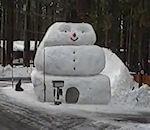 bonhomme neige géant pour faire luge