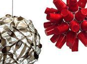 Gobelets rouges pour lampe design