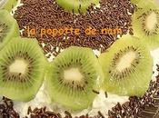Gâteau confiture coco fondante, chocolat amer kiwi