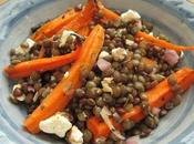 Salade lentilles vertes, carottes caramélisées feta