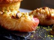 Pêches rôties pistaches, pain Gênes glace basilic (sans gluten)
