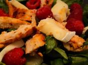 Salade poulet, brie framboises