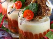 Verrines gaspacho salsa prunes crème concombre, mini grilled cheeses chèvre