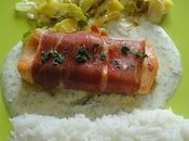 Pave saumon jambon bayonne sauce yaourt herbes
