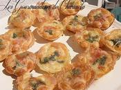 Mini tartelettes bacon basilic cancoillotte